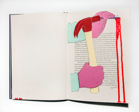 지희킴, [Green House], 기부 받은 책 페이지에 색지, 잉크, 24.5 x 32cm, 2014