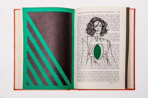 지희킴, [Another important], 기부 받은 책 페이지에 색지, 과슈,24 x 31.7cm, 2016