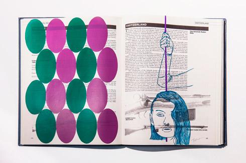 지희킴, [The complication], 기부 받은 책 페이지에 색지, 과슈, 28.5 x 42.4cm, 2016