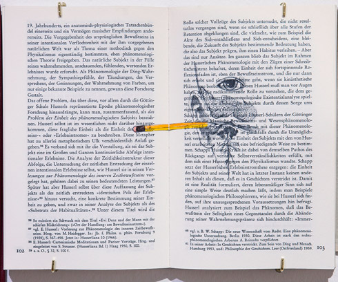 지희킴, [To Dark Eyes], 기부 받은 책 페이지에 연필, 색연필, 20.5 x 25.8cm, 2014