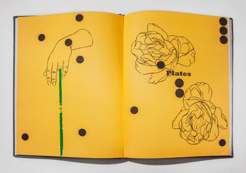 지희킴, [Plates], 기부 받은 책 페이지에 과슈, 스티커, 31.3 x 45.8cm, 2016