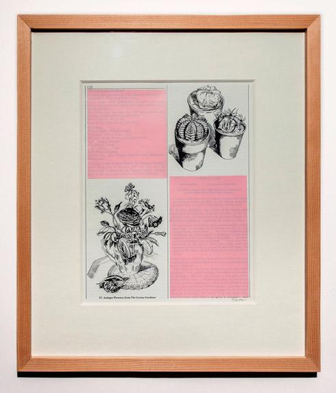 지희킴, [Pink], 기부 받은 책 페이지에 색지, 과슈, 37.5 x 32.3cm, 2015