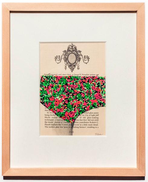 지희킴, [야행성 동물], 기부 받은 책 페이지에 천조각, 30.2 x 25.7cm, 2013