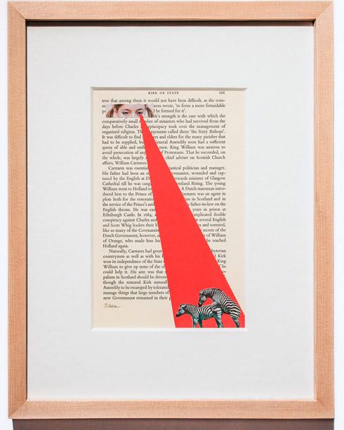지희킴, [스토커1], 기부 받은 책 페이지에 색지, 콜라주, 34.3 x 27.8cm, 2014