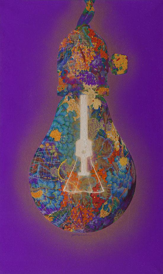 안진의, [The Garden of Light(빛의 정원)], 162.2 × 97 cm, 장지에 석채, 2016