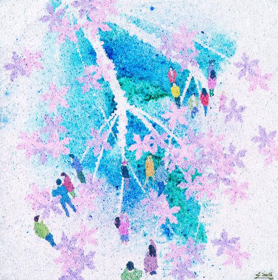위성웅, [판타지의 유희를 꿈꾸다 - 하루], 80 × 80 cm, 유리구슬, 혼합재료, 2017