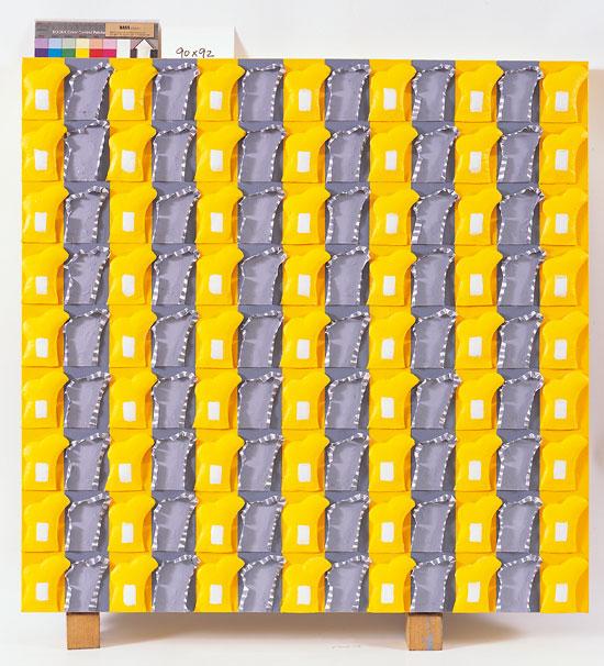 제정자, [靜과 動 Serenity and Dynamism], 90 × 92 cm, 캔버스에 아크릴, 천, 2014