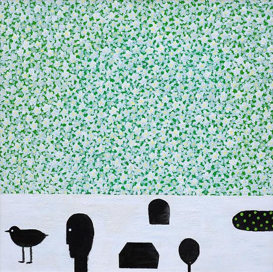 [역마], 캔버스에 혼합재료, 110×110cm, 2013