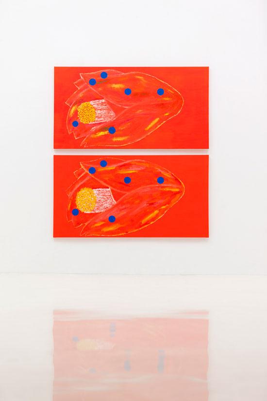 [꽃], 캔버스에 혼합재료, 75×140cm, 2015