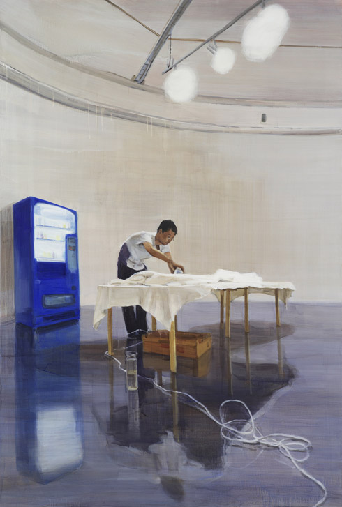 원형갤러리에서 다림질하는 남자, 230 ⅹ 155cm, 캔버스에 유채 oil on canvas, 2010
