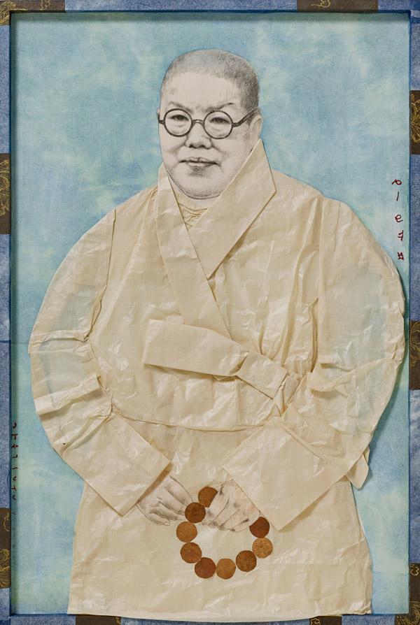 정종미 [일엽 초상] 60.5×90.5×4.5cm 한지에 염료, 기름, 금분 2018