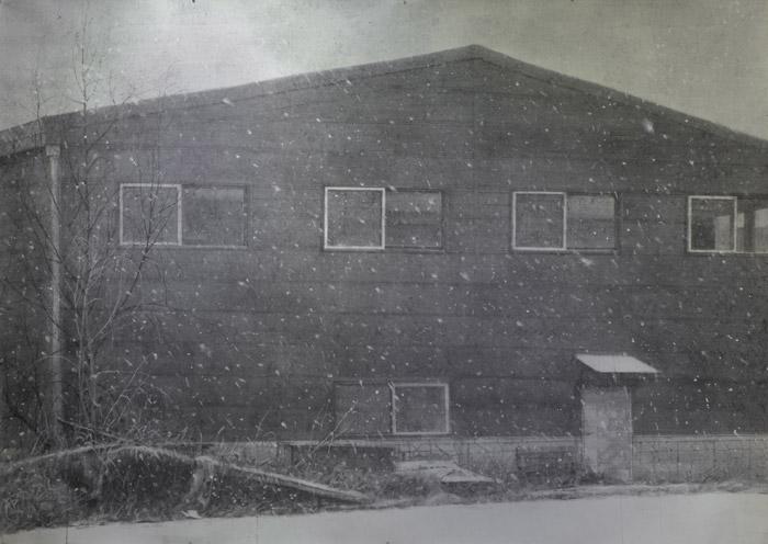 정재호 '검은 집' 한지에 목탄가루 147×208cm 2017
