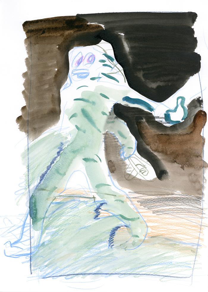이은새, 밤의 괴물들을 위한 드로잉, 25.1×35.2cm, 종이에 잉크, 2017