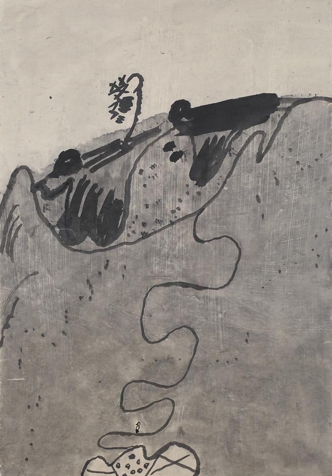 김선두 '눈 날리는 날' 65×94cm 장지에 먹, 분채 2019