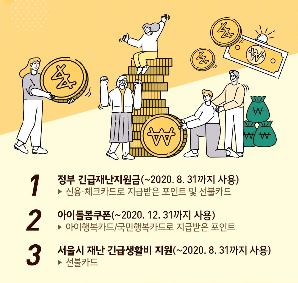 1. 정부 긴급재난지원금(~2020. 8. 31까지 사용) 신용·체크카드로 지급받은 포인트 및 선불카드 2. 아이돌봄쿠폰(~2020. 12. 31까지 사용) 아이행복카드/국민행복카드로 지급받은 포인트 3. 서울시 재난 긴급생활비 지원(~2020. 6. 30까지 사용) 선불카드