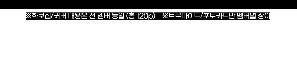 - 화보집/커버 내용은 전 멤버 동일 (총 120p) - 브로마이드/포토카드만 멤버별 상이.