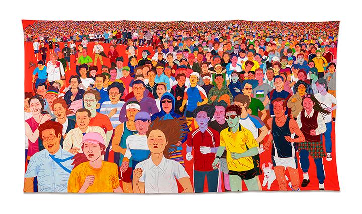 이우성 <땀 흘리며 달려간다 People Running in Sweat> 165×300cm 천에 수성페인트, 아크릴릭 과슈 2019