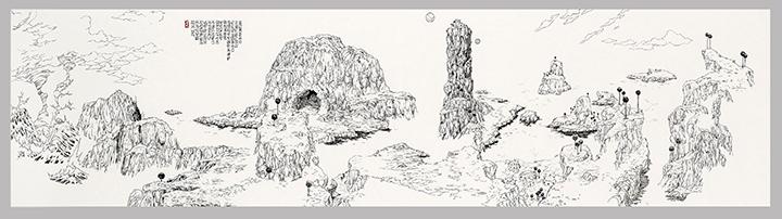 [Battlescape Z (Battlefield Namek) 배틀 스케이프 Z (배틀필드 나메크)] 지본수묵(紙本水墨), 두루마리 48.5×193cm 2013