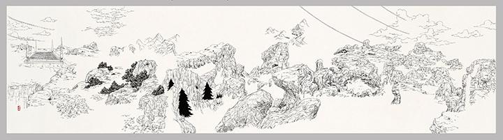 [Battlescape Z (The Cell Game) 배틀 스케이프 Z (셀 게임)] 지본수묵(紙本水墨), 두루마리 48.5×193cm 2013