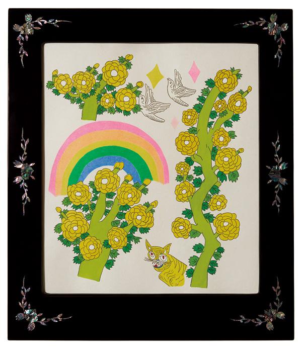 글자풍경 - 히히호랑 58×50cm 한지 위에 먹지로 드로잉, 채색, 종이 판화 2020