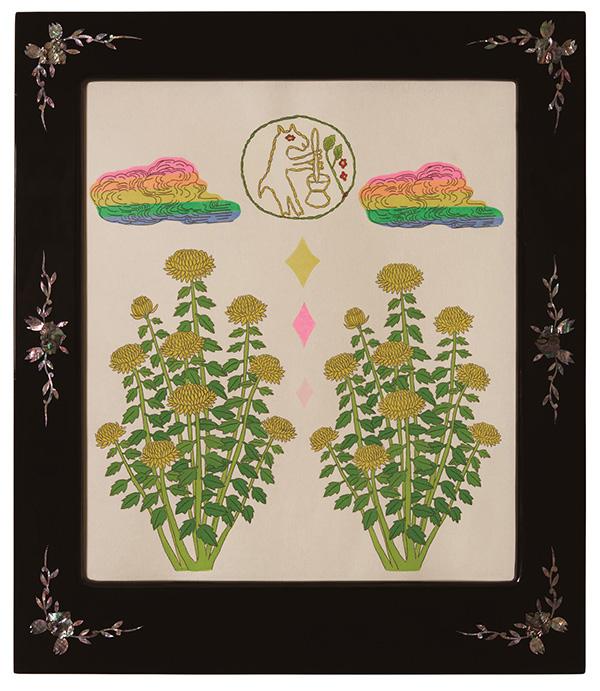 글자풍경 - 안녕달토낑 58×50cm 한지 위에 먹지로 드로잉, 채색, 종이 판화 2020