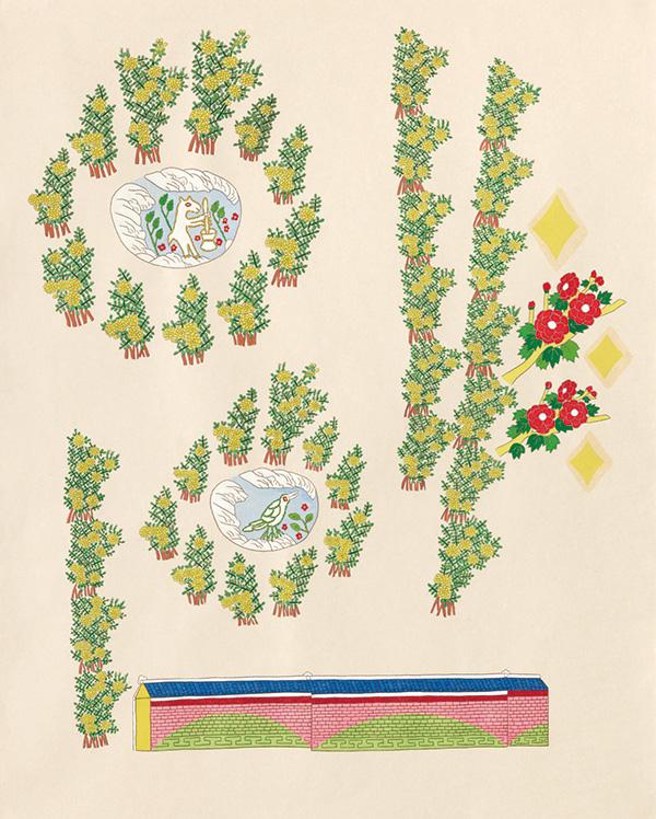 글자풍경 - 안 110×90cm 한지 위에 먹지로 드로잉, 채색, 종이 판화 2020