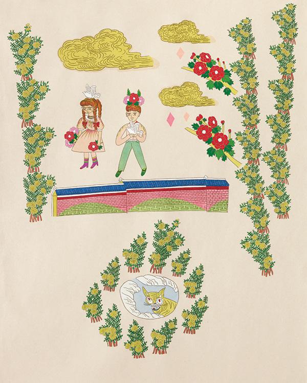 글자풍경 - 녕 110×90cm 한지 위에 먹지로 드로잉, 채색, 종이 판화 2020