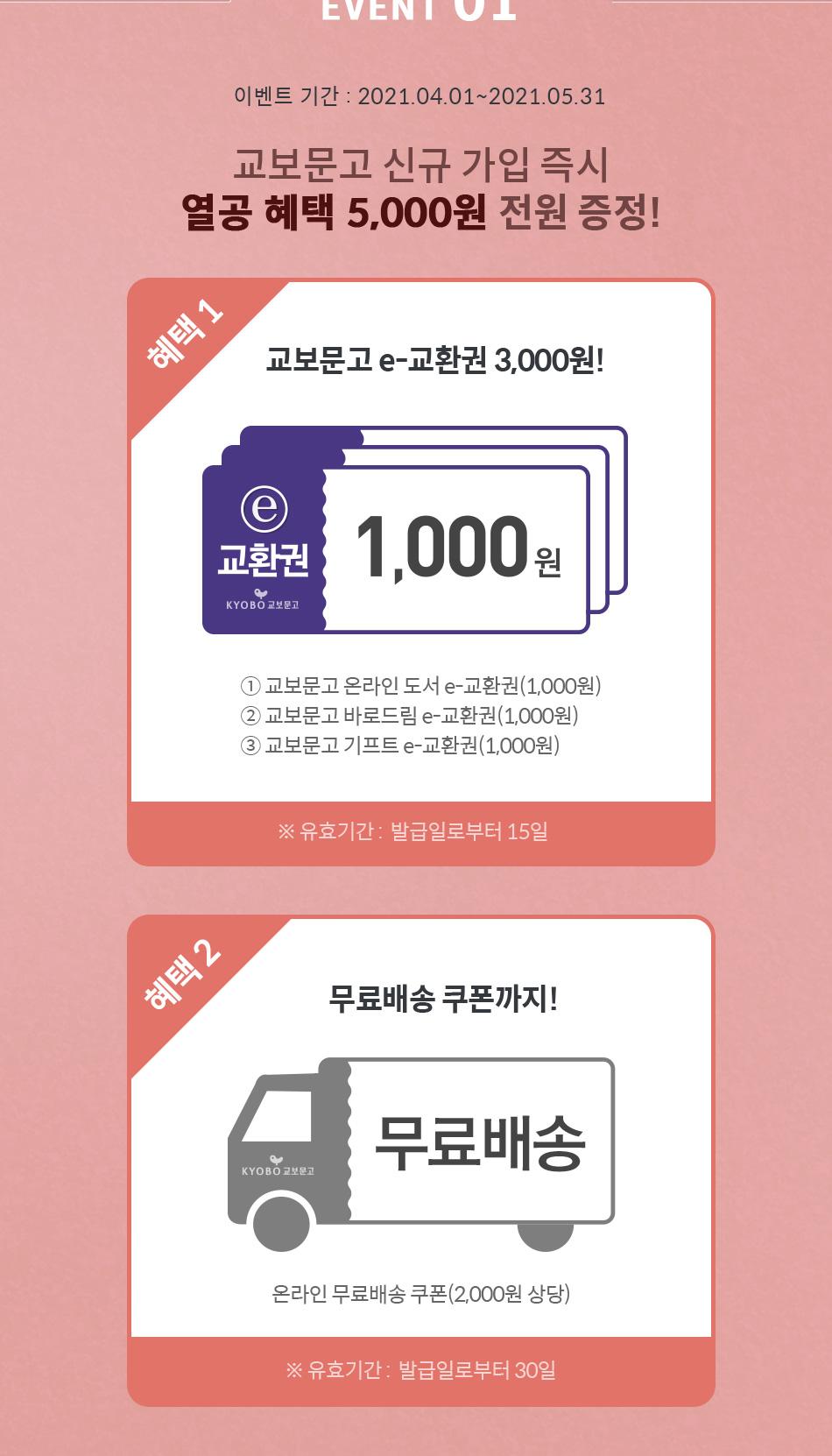 EVENT 01 교보문고 신규 가입 즉시 열공 혜택 5,000원 전원 증정!
