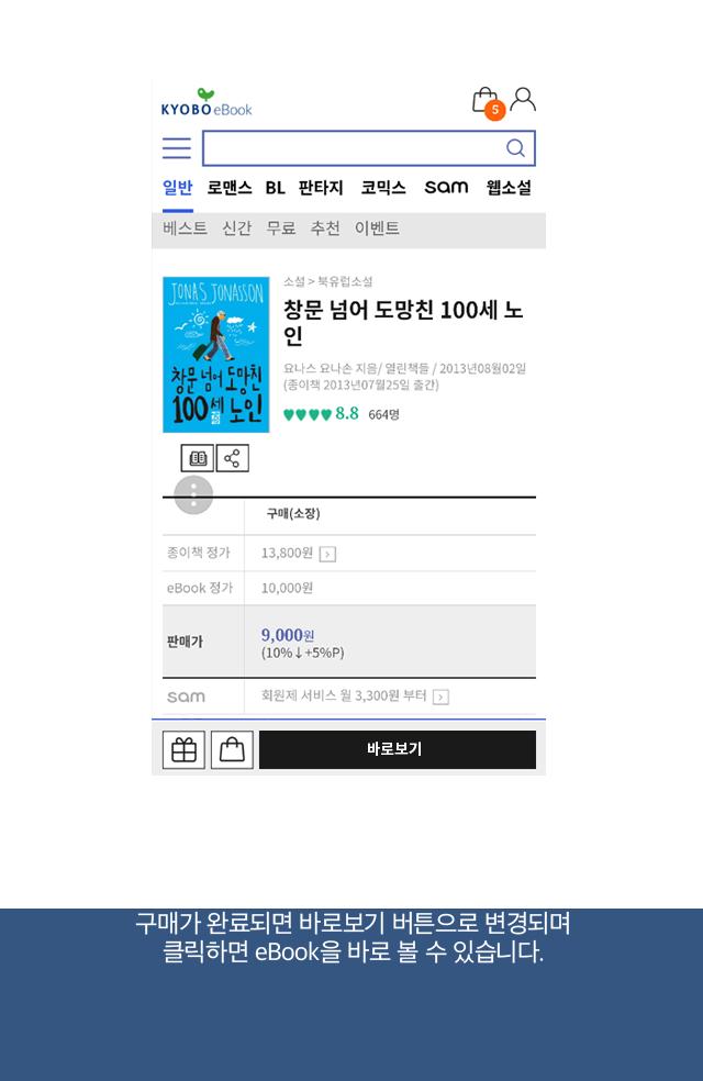 구매가 완료되면 바로보기 버튼으로 변경되며 클릭하면 eBook을 바로 볼 수 있습니다.