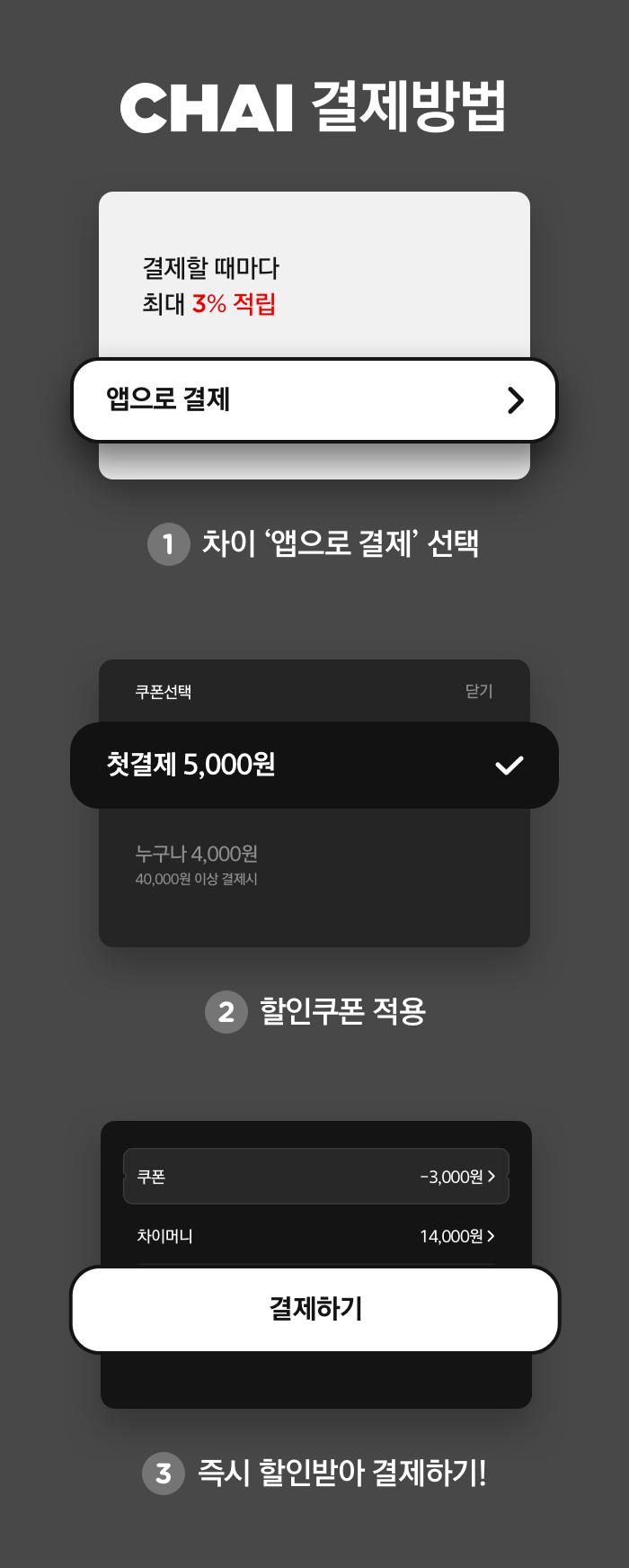 초간단 CHAI 결제방법 1.차이 '앱으로 결제' 선택 2.할인쿠폰 적용 3.즉시 할인받아 결제하기!