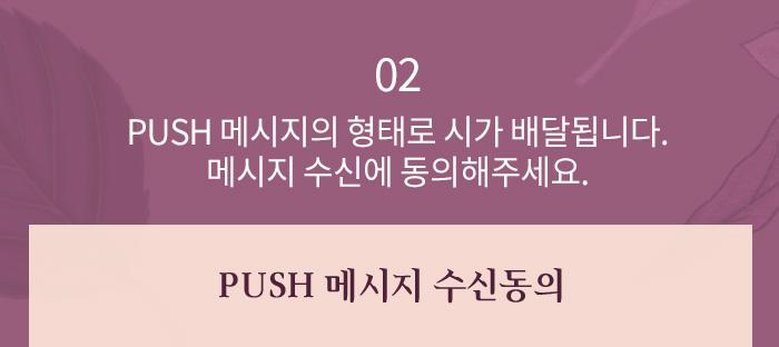 2.PUSH 메시지의 형태로 시가 배달됩니다. 메시지 수신에 동의해주세요.