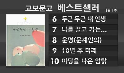 8월 첫째주 베스트셀러 순위, 김애란『두근 두근 내 인생』종합 베스트 6위