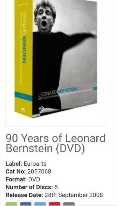 90 Years of Leonard Bernstein - Box (5 DVDs) Beethoven Brahms Bruckner Franck Milhaud Mozart