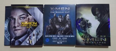 엑스맨: 퍼스트 클래스 [한정판] + 엑스맨: 데이즈 오브 퓨처 패스트 로그 컷 [스틸북 한정판] + 엑스맨: 아포칼립스 [풀슬립 한정판 스틸북]
