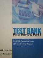 TEST BANK : CFA Level 1 Final Review Part 1