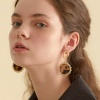 gold shine leather earring brown