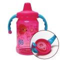 그래픽 핸들 스파우트 빨대컵 아기 물통 350ml 핑크