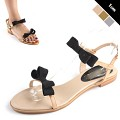 [하이퀄리티]  Twin Ribbon Flat Sandal [KESM7227]