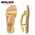 [MOG.AUS]Weaving Leather Flat Sandal MG13SFSD5521_YELLOW