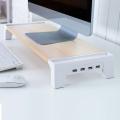 우드 모니터받침대 LMS-W05H 스마트 USB허브 4포트