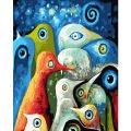 DIY 명화그리기키트 - 신비새 40x50cm (물감2배, 컬러캔버스, 명화, 동물, 새)