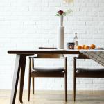 [채우리] 레이 4인 와이드 원목 식탁세트(의자)