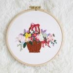 자수의온도  프랑스자수패키지 DIY 패키지 꽃바구니