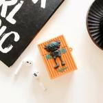 에어팟 1/2 해골 캐릭터 사각 실리콘케이스 327오렌지