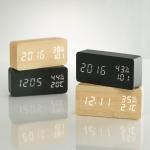 플라이토 우드 온습도 LED 탁상시계 JS-i09