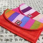 전통 문양 색동 무지개 세로형 파우치 지갑[01002455]