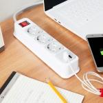 부엉이 클릭탭 USB형 3구 1.5m + 전용 브라켓 증정