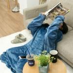 [프리미엄 입는소매담요] 대형 밍크극세사원단 집순이템 겨울쇼파블랭킷 두꺼운블랑켓