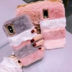 아이폰11 귀여운 파스텔 밍크 털 겨울 퍼 하드 케이스