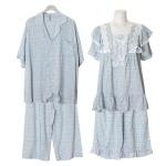 [쿠비카]튤립소매 레이온 반팔 투피스 커플잠옷 WM255